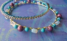 wire lashed bead bangles
