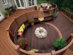 deck furniture ideas. lovely backyard wooden deck designs ideas with curved railing plus outdoor seating stone firepit furniture