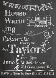 House and Banner on Chalkboard - Housewarming Party Invitations