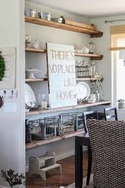 Abundant Vintage Style Kitchen Decors With Barn Wood Open Shelving As  Kitchen Ware Storage Feat Dining Table Set In Small Open Kitchen Ideas