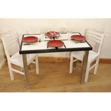 Ensemble Table Cuisine Carrelée Céramique 4 Chaises Laquées Blanche