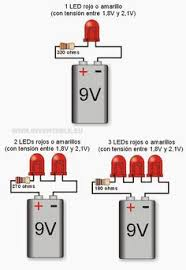 a schematic a 9v battery 470 ohm resistor and a single led leds a 9v por ejemplos