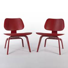 wood lounge chairs. Red Pair (2) Herman Miller Original Eames LCW Wooden Lounge Chairs Wood