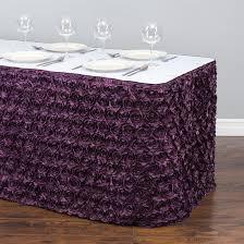 rosette satin table skirt eggplant