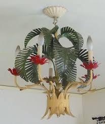 beautiful rare vintage tole palm tree chandelier hollywood regency mcm
