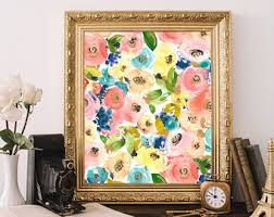 shabby chic wall art shabby chic home decor printable flowers colorful wall decor wall art flowers chic wall art watercolor art print on country chic wall art with colorful wall decor etsy