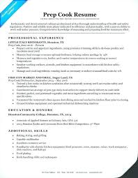 Prep Cook Resume Sample