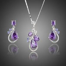 purple necklace set purple cubic zirconia water drop earrings and pendant necklace jewelry sets bridesmaids set mother of the bride necklace set 126 p jpg
