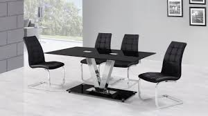 6 seater black glass dining table and chairs
