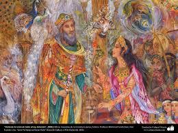 of the queen of sheba to king solomon persian of the queen of sheba to king solomon 2008 persian miniature artist mahmoud