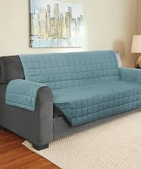 blue quilted faux suede sofa protector