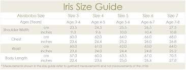 Iris Size Chart Iris Dress White Aisabobo