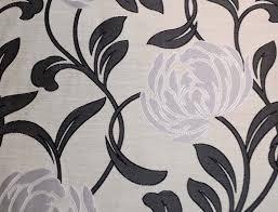 Curtain Fabric Black Grey Silver Contemporary Floral Curtain Fabric Ebay
