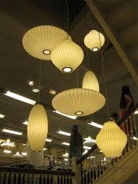 modern george nelson style silk bubble pendant lamp hanging ball cigar saucer
