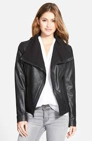 t tahari luisa knit panel d front leather jacket only in