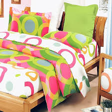 modern pink green circles teen girl bedding duvet cover sets twin full queen king size