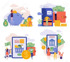 Flat Illustrations With Man And Woman Family Budget