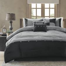 madison park boone queen size bed comforter set bed in a bag grey textured print 7 pieces bedding sets micro suede bedroom comforters