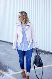 jackie goldhar is a toronto fashion and lifestyle blogger and she s wearing a pastel pink the pastel pink moto jacket