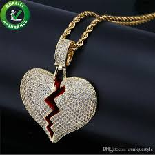 whole iced out pendant designer necklace hip hop jewelry mens gold chain pendants solid red heart break gold silver pandora style charms love gift