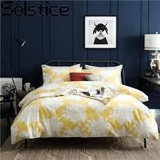 linen bed solstice cotton simple light yellow flowers style bedding sets bed linen bed sheet duvet