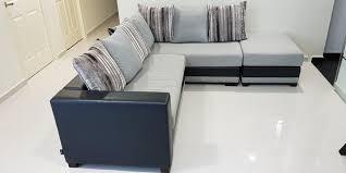 modern l shaped sofa set ottoman