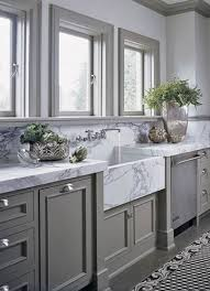 gray kitchen cabinets marble countertops