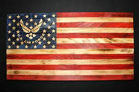 wooden american flag w air force logo hand carved flag wood burned flag