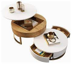 round wood coffee table with lift top