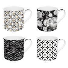 Easy Life Design Coffee Mugs Set 4 Fine China Mugs 300 Ml In Gift Box Trend Color Black