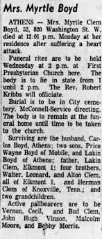 Obituary for Myrtle Boyd - Newspapers.com