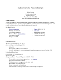 Student Internship Resume Example Samples For College Stude Sevte