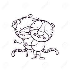トラ他のかわいい動物愛のベクトル図を運ぶ 1 つのカップルの似顔絵を輪郭ぼやけスケッチ