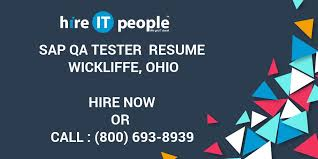 Sap Qa Tester Resume Wickliffe Ohio Hire It People We Get It Done