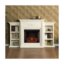details about southern enterprises griffin electric fireplace with bookcases ivory