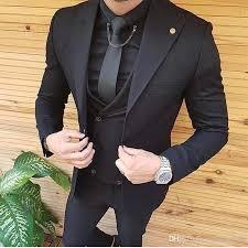 2019 Mens Suits Slim Fit Peaked Lapel One Button Wedding Tuxedos Prom Man Blazer Designs Jacket Pants