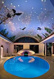 Plain Cool Indoor Swimming Pools View In Gallery Imaginative Painted Ceiling And Pool On Beautiful Design