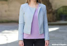 zara pale pastel baby blue leather jacket