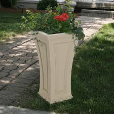 mayne cambridge tall planter black amazonca patio lawn  garden