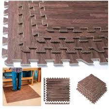com 32 sq ft interlocking dark wood grain eva mats foam flooring gym exercise new office s