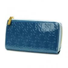 Coach Accordion Zip Large Blue Wallets DVC