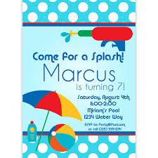 doc pool birthday party invitations pool party pool party invitation blue polka dots and red water squirt gun pool birthday party invitations