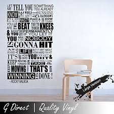 Life Quote Wall Stickers Amazon Rocky Balboa Mural Inspirational Quote Wall Sticker 90