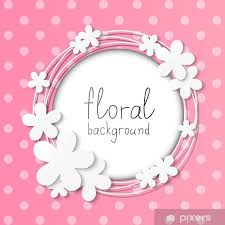 Paper Flower Frame Paper Flowers Frame On Pink Background Wall Mural Pixers We