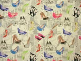 Curtain Fabric High Heel Shoes Mini Prints 100 Cotton Fabric Multi Use Curtain
