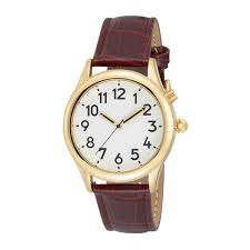 talking watches low vision man s gold tone talking watch white face leather band choice of voices male