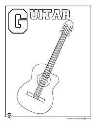 Free, printable coloring book pages, connect the dot pages and color by numbers pages for kids. G Is For Guitar Coloring Page Woo Jr Kids Activities