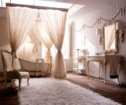 Delightful Decoration: Luring Bathroom Classy Home Decor With Romantic Style With  Fabric Curtains Also Lush Bathtub