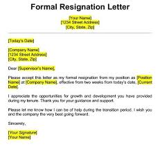 Formal Resignation Letter Example Get Best Resignation Letter Sample With Rreason Every Last
