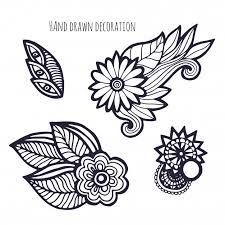 Hand Getrokken Bloemen Kleurplaat Decoratie Vector Premium Download